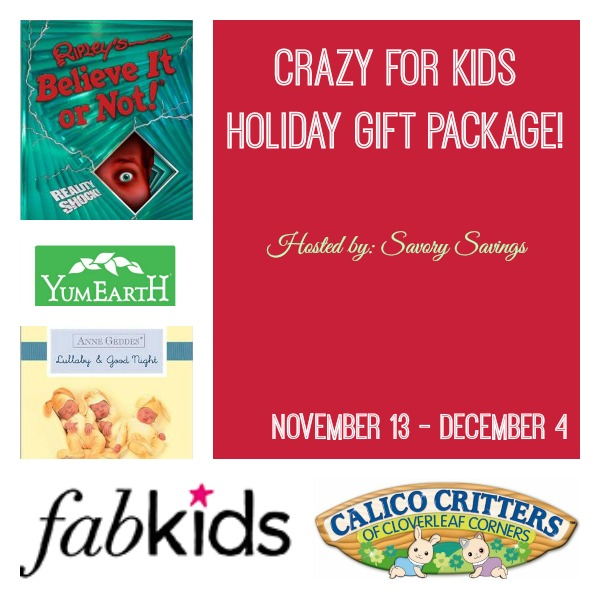 Crazy for Kids Holiday Giveaway Nov 13 - Dec 4