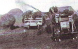Farm wagons, threshing