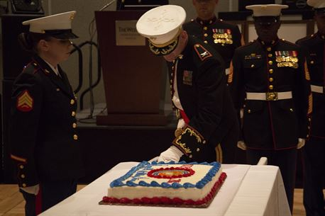 Colonel Jeffrey C. Smitherman, commanding officer of 6th Marine Corps District, slices the Marine birthday cake with the non-commissioned officer sword during the 6th Marine Corps District's 241st Birthday Ball Celebration Nov. 10, 2016 at the Westin Hilton Head Island Resort and Spa in Hilton Head, South Carolina. (Photo by Cpl. John-Paul Imbody/Released)