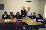 Constance and Larry and students in Wabasca-Desmarais, Alberta