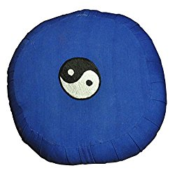 Blue Tibetan Embroidered Yin Yang Symbol Zafu, Yoga Cushion, Meditation Cushion, Made in Nepal