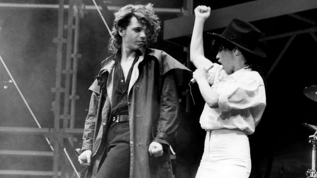 INXS singer Michael Hutchence duets with Jenny Morris at the Countdown Music and Video Awards at the Sydney Entertainment Centre in December, 1986.