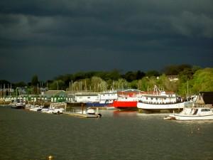 overcast houseboats