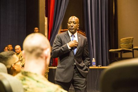 Retired Sgt. Maj. Carlton W. Kent, the 16th Sergeant Major of the Marine Corps, shares his career experiences with Marines during a leadership panel at the station theater aboard Marine Corps Air Station Yuma, Ariz., Tuesday, March 8, 2016.