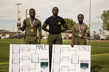 """Lance Cpl. Geovanne Downer (left), with Marine Aviation Logistics Squadron 13, and Sgt. Kimberlin Blunt (right), with Headquarters & Headquarters Squadron, both administrative specialists stationed out of Marine Corps Air Station Yuma, Ariz., receive the first place award from station sergeant major, Sgt. Maj. Delvin Smythe (center), during the MCAS Yuma """"Fastest Man and Woman"""" competition held at the station Memorial Sports Complex, Thursday, Feb. 18, 2016."""