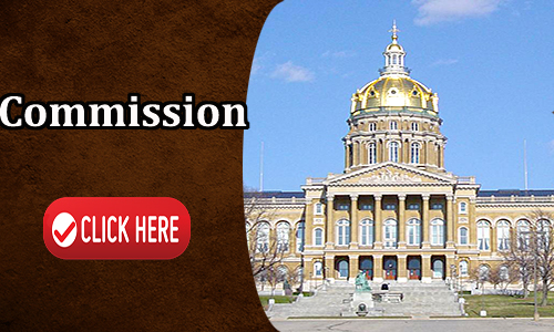 This is an interactive picture of the iowa state capital. Written on the image is Commission Click Here for more details.