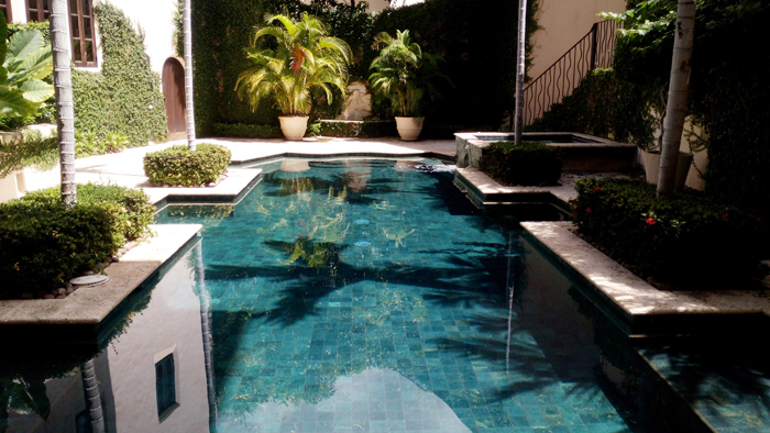 A private swimming pool at a private villa.