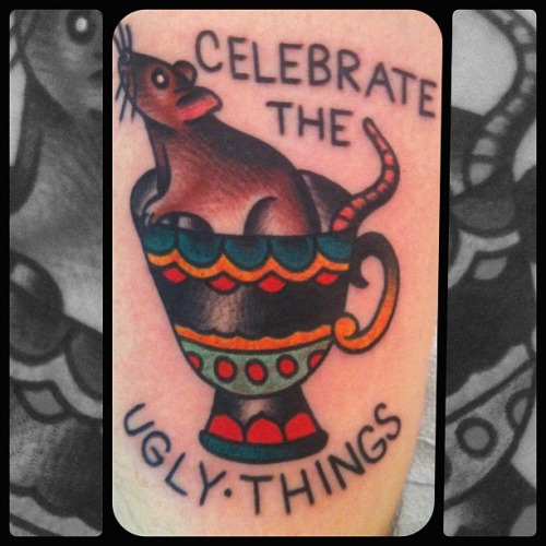 Jeremy Whitley. Thicker Than Water Tattoo. NYC. jeremywhitleytattoo:  Rat in a tea cup. I hate pics. of tattoos. Never look as good as they do in person. Oh well