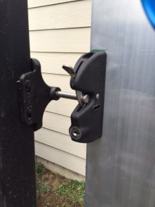 locking gate latch on custom sliding gate