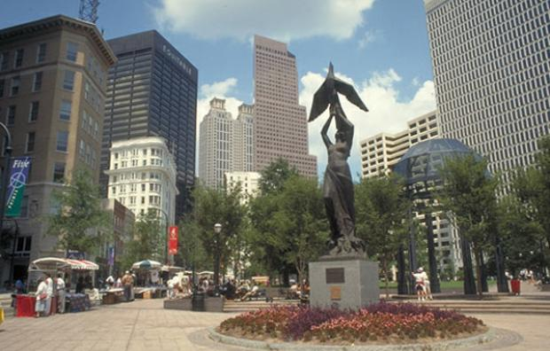 Downtown Atlanta at Woodruff Park, with a statue