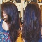 Стрижка лесенка на длинные волосы фото