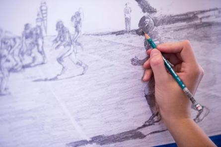 sketch of football game