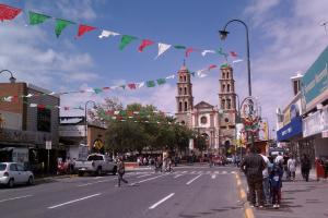 Downtown Ciudad Juarez, Mexico decorated ahead of the Mexican Independence celebration.