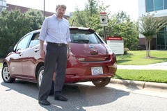 Ewan Pritchard demonstrated how the fast charger worked on a Nissan Leaf