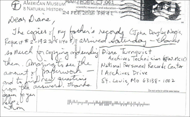 Postcard thanking National Archives staff for assistance with military service records