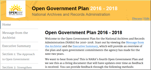 Open Government Plan on Github