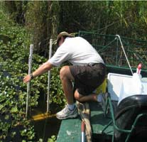 photograph of Field Biologist Robert Smith deploying a Hydrolab minisonde in the canal
