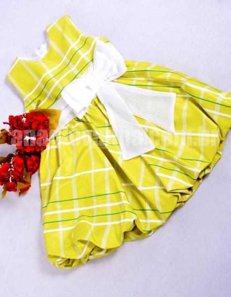 Vestido xadrez infantil amarelo-esverdeado