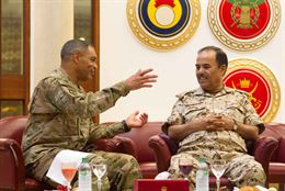 Lt. Gen. Michael X. Garrett, the commanding general of U.S. Army Central, discusses ways to strengthen partnership capabilities with Bahraini Maj. Gen. Abdulla Al Nuaimi, the general inspector for the Bahraini Defense Forces at the their Headquarters in Manama, Bahrain, April 28, 2016. The USARCENT command team met with leaders of partner militaries throughout USARCENT's area of responsibility to continue to build bilateral partnership ties.