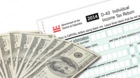 """DC Tax form and currency bills with text that reads """"Check Your Tax Refund Status"""""""