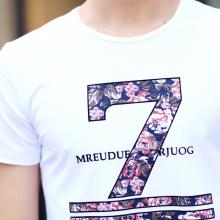 2016夏装新款男装体恤衫韩版字母印花修身圆领短袖T恤男F6029