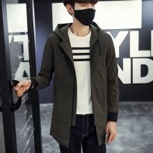 2016新款男士中长款外套连帽薄款夹克 男F8041