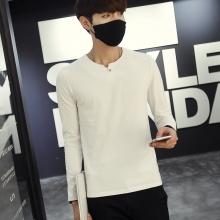 2016秋装新款男士纯色长袖t恤纯棉修身男装体恤衫F8051