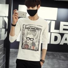 2016夏装新款男士圆领印花韩版长袖T恤F8054
