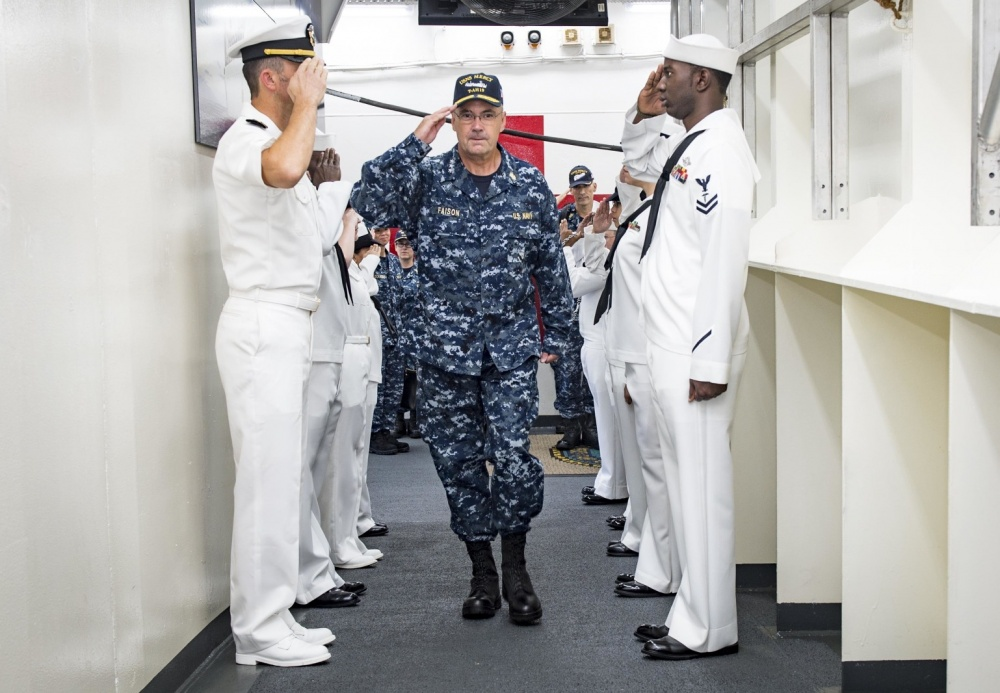 KUANTAN, Malaysia (Aug. 4, 2016) Vice Adm. C. Forrest Faison III, surgeon general of the Navy, salutes sideboys as he arrives aboard hospital ship USNS Mercy (T-AH 19). During his visit, he met with Pacific Partnership 2016 personnel, toured Mercy and held an Admiral's Call where he answered questions from the crew. Mercy is in Kuantan in support of Pacific Partnership 2016, the first time Mercy and Pacific Partnership have visited Malaysia. During the mission stop, partner nations work side-by-side with local military and civilian organizations in a search and rescue exercise, civil engineering projects, community relation events and subject matter expert exchanges. (U.S. Navy photo by Mass Communication Specialist 2nd Class Hank Gettys/Released)
