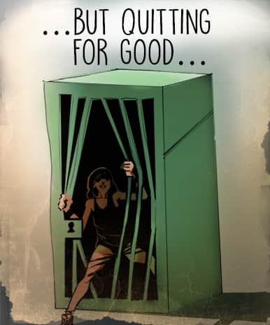 Addiction can make you feel trapped, but quitting for good can set you free (A teen bends the bars of prison cell and escapes)
