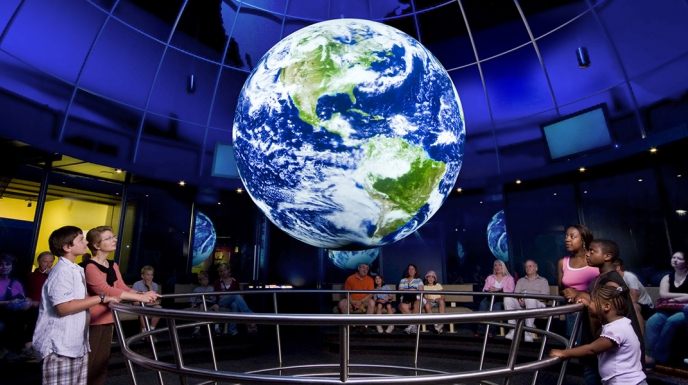 Earth Revealed on NOAA's Science On a Sphere at the Museum of Science and Industry in Chicago.