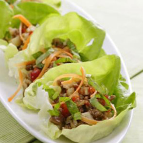 Plate of asian inspired lettuce wraps