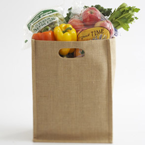 Bag of groceries with fresh fruits and vegetables
