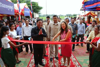 Julie Chung (right), Deputy Chief of Mission for the U.S. Embassy, participates in a ribbon-cutting ceremony for the newly-constructed primary school in Kampong Speu Province, Cambodia. Other dignitaries in attendance include Vy Samnang (left), Governor of Kampong Speu Province, and Heang Sine (center), Undersecretary of State for the Cambodian Ministry of Education. The Alaska District completed this project in support of U.S. Pacific Command's Humanitarian Assistance Program.