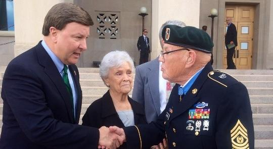 Rogers Congratulates Medal of Honor Recipient Bennie G. Adkins Outside the Pentagon feature image