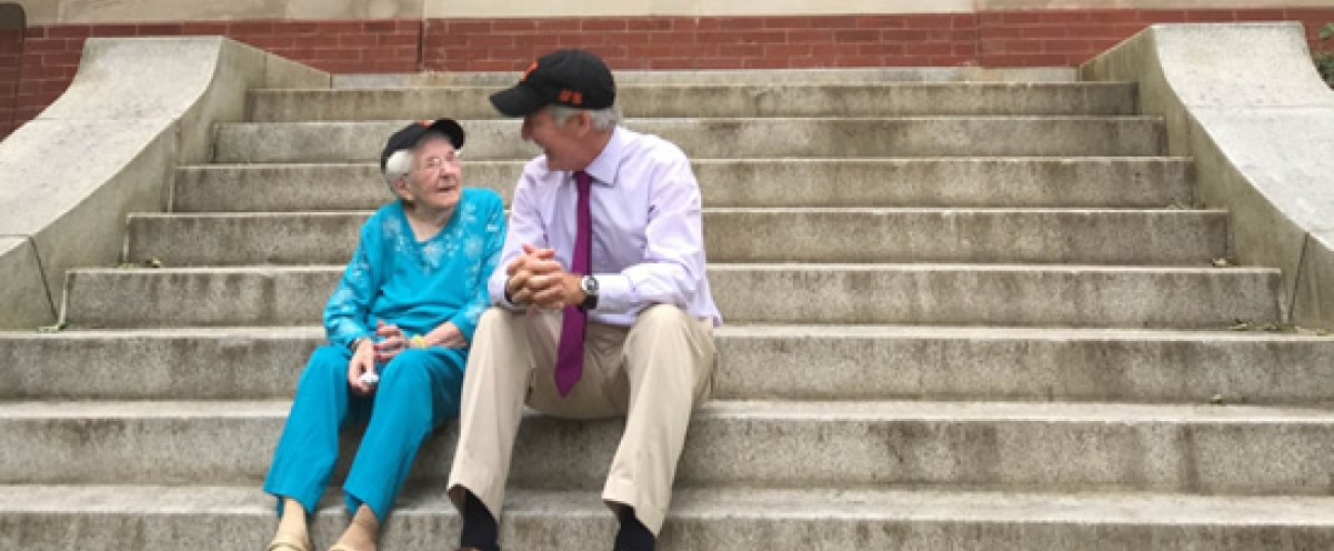 Traded stories with 105-year-old Peg Stearns on the steps of The Technical High School where she graduated in 1928 and I graduated in 1967.