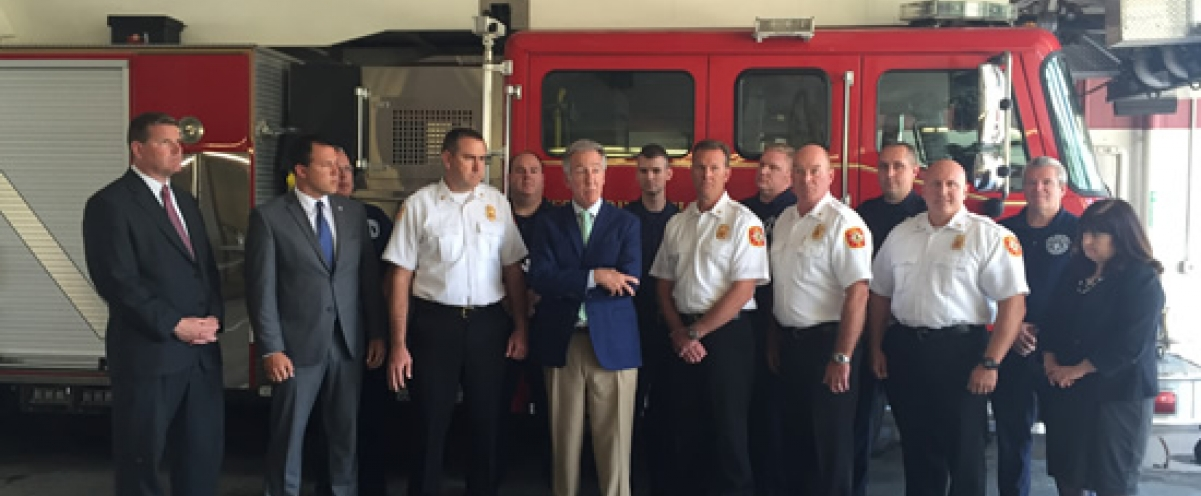 With Mayor Will Reichelt, State Representative Mike Finn and West Springfield Fire Chief William Flaherty to announce a federal grant for the fire department used for general upkeep of the vehicles.