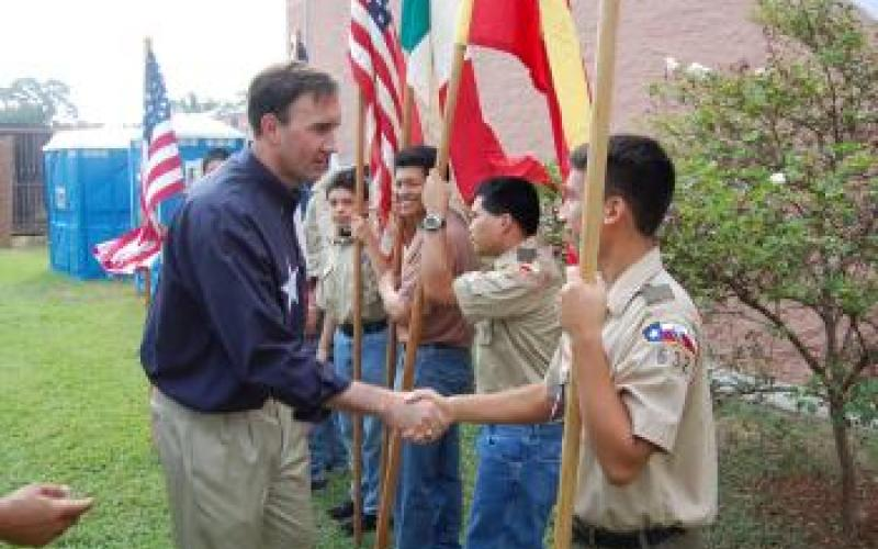 Congressman Olson speaks with local Boy Scouts at Hispanic Heritage Day in Rosenberg