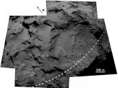 Agilkia mosaic, labelled Credit: ESA/Rosetta/MPS for OSIRIS Team MPS/UPD/LAM/IAA/SSO/INTA/UPM/DASP/IDA