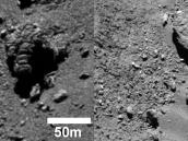 Two fractured boulders  Credit: ESA/Rosetta/MPS for OSIRIS Team MPS/UPD/LAM/IAA/SSO/INTA/UPM/DASP/IDA