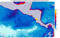 El Niño reduces the phytoplankton productivity of the coastal waters off Central America during winter.