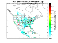 Total methane emissions in North America for January 2010.