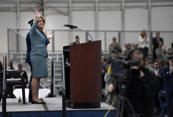 Secretary of the Air Force Deborah Lee James waves to attendees during her farewell ceremony at Joint Base Andrews, Md., Jan. 11, 2017.  James took office as the 23rd secretary of the Air Force in Dec. 2013.  (U.S. Air Force photo/Scott M. Ash)
