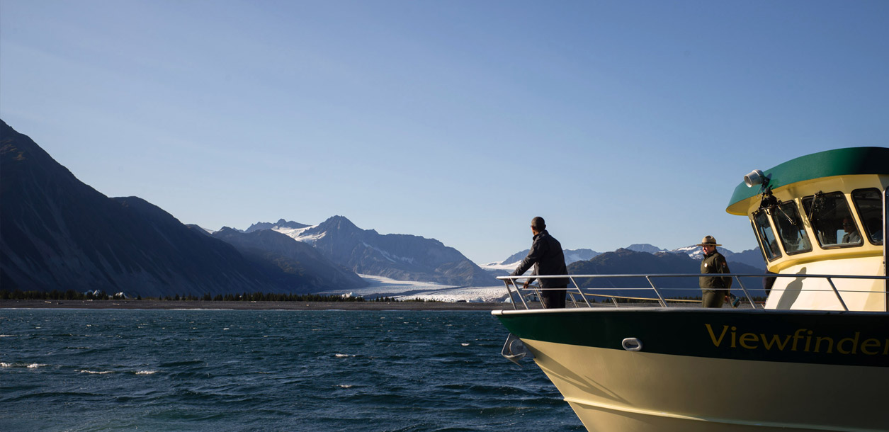 President Barack Obama views Bear Glacier which has receded 1.8 miles in the roughly 100 years that have been recorded, during a boat tour to see firsthand the effects of climate change in Kenai Fjords National Park, Alaska, Sept. 1, 2015.   (Official White House Photo by Chuck Kennedy)