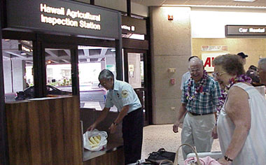 Photo of the Hawaii Agricultural Inspection Station at the airport.