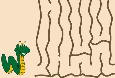 A Happy Worm is About to Enter a Maze