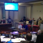 Clare Consavage, and her son Colin, addressing the Joint Finance Committee in support of libraries