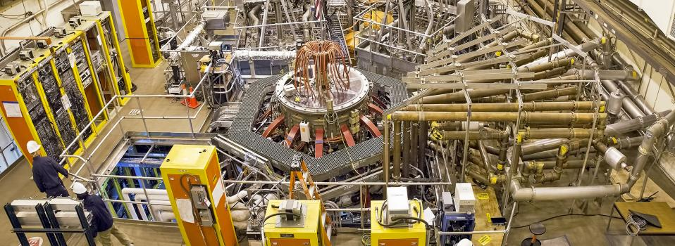 Test cell of the National Spherical Torus Experiment-Upgrade with tokamak in the center.