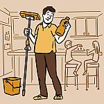 An illustration of a dad holding a mop and reading the label on a bottle of cleaning fluid in a kitchen.