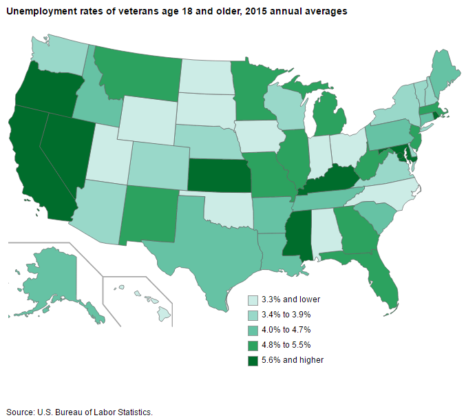 Map of unemployment rates for veterans by state in 2015